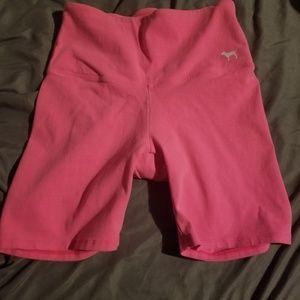 Pink yoga biker shorts